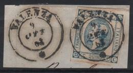 1863 15 C. Litografico II Tipo Su Frammento Annullo Valenza - 1861-78 Vittorio Emanuele II