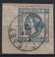 1863 15 C. Litografico Su Frammento Annullo Completo - 1861-78 Vittorio Emanuele II