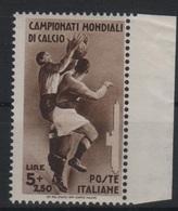 1934 Mondiali Calcio 5 L. Bordo Foglio MNH - 1900-44 Vittorio Emanuele III
