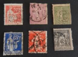 FRANCE PETIT LOT OBLITÉRÉS PERFORES ANNÉES 1884/1939 2 SCANS - Perfins