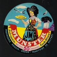 """Etiquette Fromage  Munster """"JM""""  Fromagerie Mougin  Boron Territoire De Belfort  """" Cigognes"""" - Fromage"""