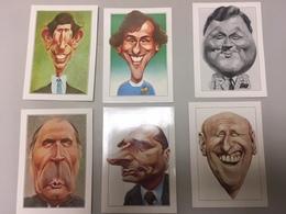 Lot 6 CPA Portrait Humoristiques Les Grandes Gueules (prince Charles, Platini, Chirac, Bourvil, Mitterand, Bouvard - Humour