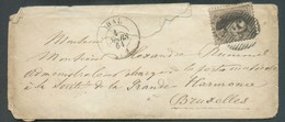 N°14 - Médaillon 10 Centimes Brun, Obl; P.53 Sur Enveloppe D'HAL Le 4 Mars 1864 Vers Bruxelles - 14249 - 1863-1864 Medaillen (13/16)