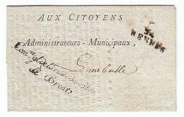 France An 5 'Com.re Gl De L'armée Des Cotes De Brest' '34 RENNES' (s98) - Sellos De La Armada (antes De 1900)