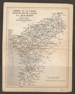 CARTE PLAN 1919 - BORDS De La LOIRE BAINS De MER De L'OCEAN Et SUD OUEST - CARTE INDEX Des ROUTES - Topographische Karten