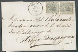 N°17(2) - 10 Centimes Gris (paire) Obl; LP.46 Sur Lettre De BOOM Le 14 Avril 1869 Vers Strépy-Bracquegnies - 14253 - 1865-1866 Linksprofil