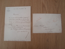 ENVELOPPE + LETTRE CABINET DE L'EMPEREUR 21 JANVIER 1860 A L'ARCHITECTE HENAN PARIS - Marcophilie (Lettres)