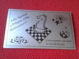 POSTAL POST CARD AJEDREZ CHESS Échecs SCHACH XADREZ FELIZ NAVIDAD 1999 OFFENBACH CLUB GERMANY CLUB DE AJEDREZ ESPAÑOL VE - Postales