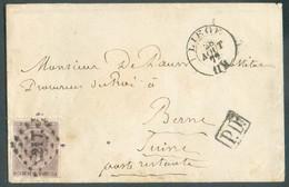 N°19 - 30 Centimes Brun, Obl. LP.217 Sur Enveloppe De LIEGE Le 28 Aout 1872 Vers Berne (CH) - TB -  14260 - 1865-1866 Profile Left