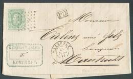 N°30 - 10 Centimes Vert, Obl. LP. 253 Sur Lettre De MAESEYCK Le 21 Février 1871 Vers Maestricht - TB -  14263 - 1869-1883 Leopold II.