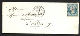 Calvados-Lettre Avec Petit Chiffre 2514 De Pont L'Eveque Sur N°14A - 1849-1876: Période Classique