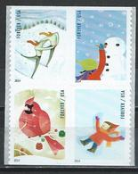 USA. Scott # 4937-40a,  MNH Pane Of 4  From Booklet. Winter Fun Christmas. 2014 - Nuevos