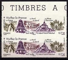 ADH 70 - FRANCE Adhésifs N° 713 Paire Verticale Bdf Neufs** Visitez La France Tour Eiffel - France
