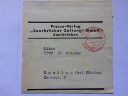 GERMANY 1944 Newspaper Wrapper Saarbrucken To Gauting With Gebuhr Bezahlt Mark - Germania