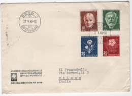 Svizzera 1945 Unif. 423/26 Su Raccomandata Per Milano VF - Svizzera