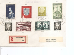 Sarre ( Lettre Recommandée De 1957 De Saarbrucken Vers Mettlach à Voir) - 1957-59 Federation