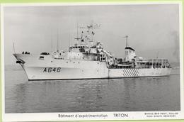 Bâtiment D'expérimentation   TRITON   / Photo Marius Bar, Toulon / Marine - Bateaux - Guerre - Militaire - Warships