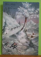 Auguri Buon Natale Felice Anno Paesaggio Uccelli CARTOLINA 1973 - Natale