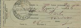 RICEVUTA  RACCOMANDATA ASSICURATA VALORE DICHIARATO,MODELLO 22-B,1916,TIMBRO POSTE ALESSANDRIA,RR - 1900-44 Victor Emmanuel III.