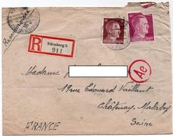 LSC 1943 - Censure / Griffa Ae - Recommandé NURNBERG 5  - Cachet NURNBERG Die Stadt Der Reich Parteitage - Lettres & Documents