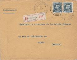 293/29 - Enveloppe Recommandée TP Petit Montenez POSTES MILITAIRES 1 En 1924 Vers PARIS - Postmark Collection