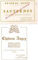 2 Etiquettes  Château  AUGEY Sauternes Mme Marcel Ricaud  Propriétaire à Bommes 33 à Bommes 33 - Bordeaux