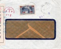 LSC 1945 - Censure / CONTROLE - Cachet Rouge Cp Avex Croix De Lorraine - Timbre YT 163 / Au Dos Comptoir Pharmaceutique - Lettres & Documents