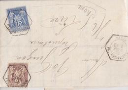 N° 67 20c Brun-lilas (N/B) + 15c Sur Lettre De Paris (levée Exeptionelle) Le 1° Fev 82 Pour Lure - Postmark Collection (Covers)