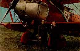 D.COSTES ET M.BELLONTE  RAID PARIS-NEW-YORK 1930 DEVANT LEUR AVION....CPA ANIMEE - Aviateurs
