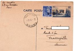 Oblitération Linéaire AMIENS GARE Sur Entier Postal Arc De Triomphe 403-CP1 & Complément - Cachet FRESSENNVILLE (Somme) - Postmark Collection (Covers)