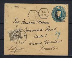 N°TX44 GESTEMPELD OP OMSLAG VANUIT United Kingdom COB € +9,00 - Postage Due