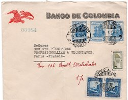 LSC 1949 - Entête BANCO DE COLOMBIA & Timbres YT 384B & YT 399A - Colombia