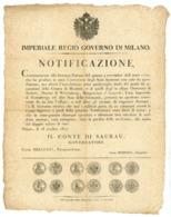 NOTIFICAZIONE MONETE FUORI CORSO -CON IMMAGINI DELLE MONETE MILANO 1818 (Z/32) - Décrets & Lois