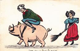 CPA Caricature Satirique Guerre 14 Anti-Kaïser Anti-Guillaume II Patriotique Cochon Porc Pig Illustrateur  (2 Scans) - Humoristiques