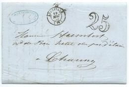 MP ABBEVILLE SOMME / TAXE 25 / 1851 - Storia Postale