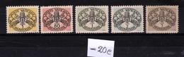 1946 Vaticano Vatican SEGNATASSE  POSTAGE DUE 5c, 80c, 1L 2L, 5L Righe Larghe Carta Bianca MNH** 3v. Firma Biondi - Postage Due