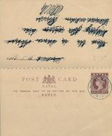 1929 , NATAL , ENTERO POSTAL CON TARJETA DE RESPUESTA , ROSE BANK - Cartas