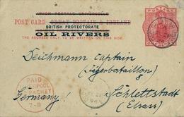1894 , NIGER COAST / OIL RIVERS , VICTORIA ONE PENNY, ENTERO POSTAL CIRCULADO, OLD CALABAR - SCHLETTSTADT . - Nigeria (...-1960)