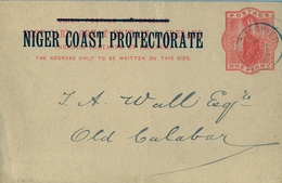1898 , NIGER COAST PROTECTORATE , VICTORIA ONE PENNY, ENTERO POSTAL CIRCULADO, OPOBO RIVER - OLD CALABAR - Nigeria (...-1960)