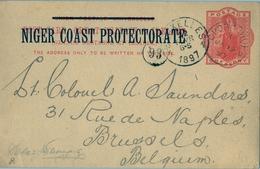 1897 , NIGER COAST PROTECTORATE , VICTORIA ONE PENNY, ENTERO POSTAL CIRCULADO, OPOBO RIVER -  BRUSELAS - Nigeria (...-1960)