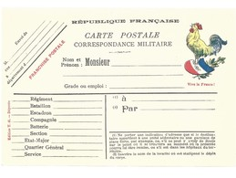 CARTE EN FRANCHISE MILITAIRE  - LE COQ - NON ECRITE - TRES BON ETAT - Postmark Collection (Covers)