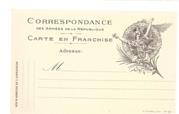 CARTE EN FRANCHISE MILITAIRE  - MODELE RARE- NON ECRITE - TRES BON ETAT - Marcophilie (Lettres)