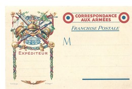 CARTE EN FRANCHISE MILITAIRE  - CORRESPONDANCE AUX ARMEES - SUPERBE - NON ECRITE - TRES BON ETAT - Marcofilia (sobres)