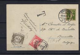 N°TX35+TX46 GESTEMPELD OP KAART VANUIT Zwitserland 1933 COB € +7,50 - Postage Due
