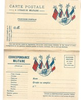 CARTE EN FRANCHISE MILITAIRE  - CARTE DOUBLE (4) - CANON  - NON ECRITE - TRES BON ETAT - Marcofilia (sobres)