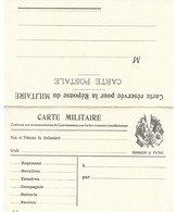 CARTE EN FRANCHISE MILITAIRE  - CARTE DOUBLE (5) - HONNEUR ET PATRIE- NON ECRITE - TRES BON ETAT - Postmark Collection (Covers)