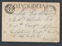 Guerre 14-18 Enveloppe Italienne Avec TAD Militaire Du 25/2/18 TAD Trésor Poste 5 Tampon Et Bande De Censure - Poststempel (Briefe)