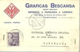 TARJETA POSTAL 1943 PAMPLONA - 1931-50 Cartas