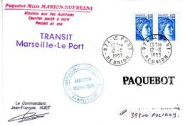 Marion Dufresne FSAT TAAF. 12.11.93 Le Port Reunion Transit Marseille Le Port & 10.11.93 Port Said - Terres Australes Et Antarctiques Françaises (TAAF)