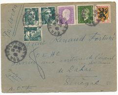 VAR ENV 1945 TOULON SUR MER COMPO DULAC GANDON BLASON LETTRE AVION => SENEGAL - Marcophilie (Lettres)